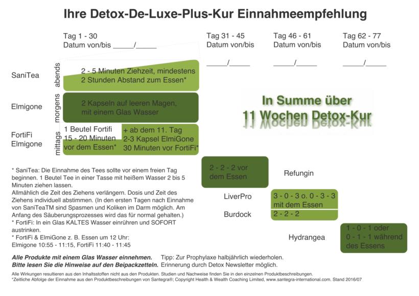 Einnahmeempfehlung für Ihre Detox Kur für Zuhause günstig bestellen